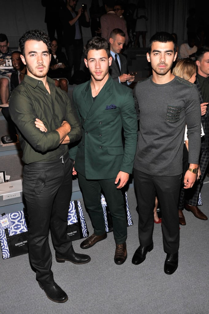 The Jonas Brothers struck a pose in the front row at Richard Chai on Thursday.
