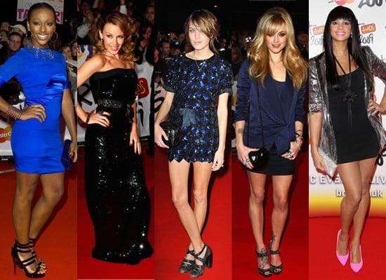 Alexandra Burke, Alexa Chung, Fearne Cotton, Alesha Dixon, and Kyline Minogue at Brit Awards
