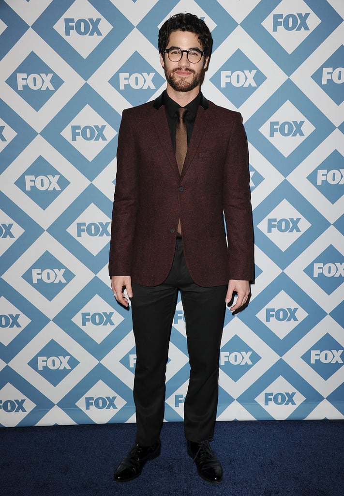 Bearded Glee star Darren Criss wore glasses to the Fox party.