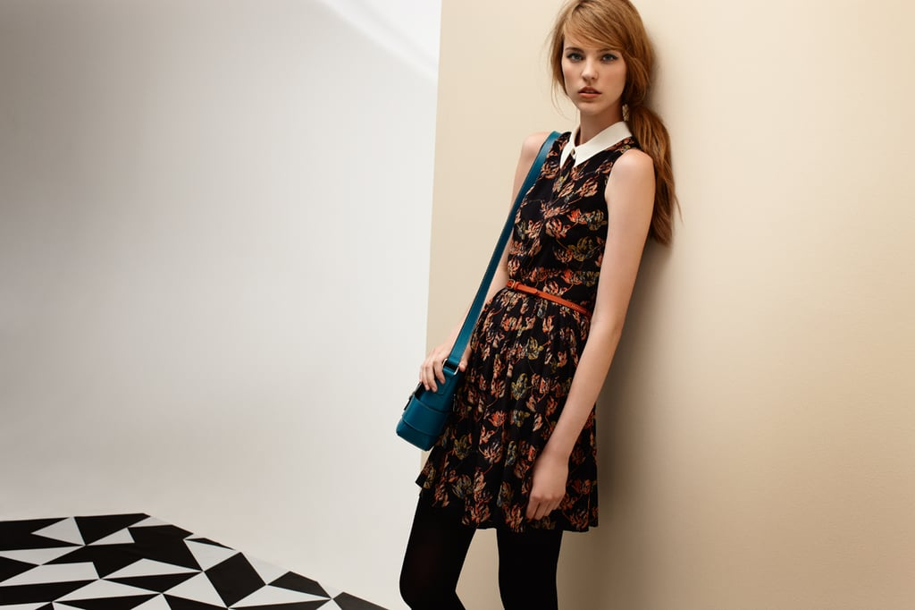 '40s Floral Dress $329, Contrast Stitch Belt $49 and Cross Body Bag $169.