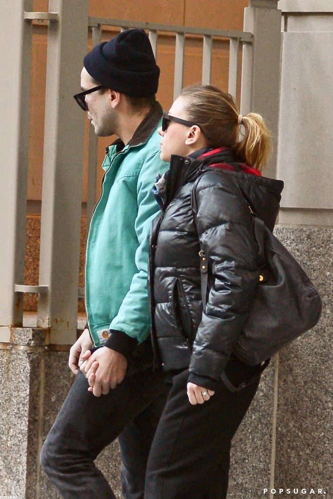 Scarlett Johansson and Romain Dauriac held hands on their way to East Side Ink.