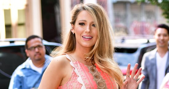 Pregnant Blake Lively Glows in Bump-Hugging Neon Pink Dress, Teeters in Sky-High Wedges