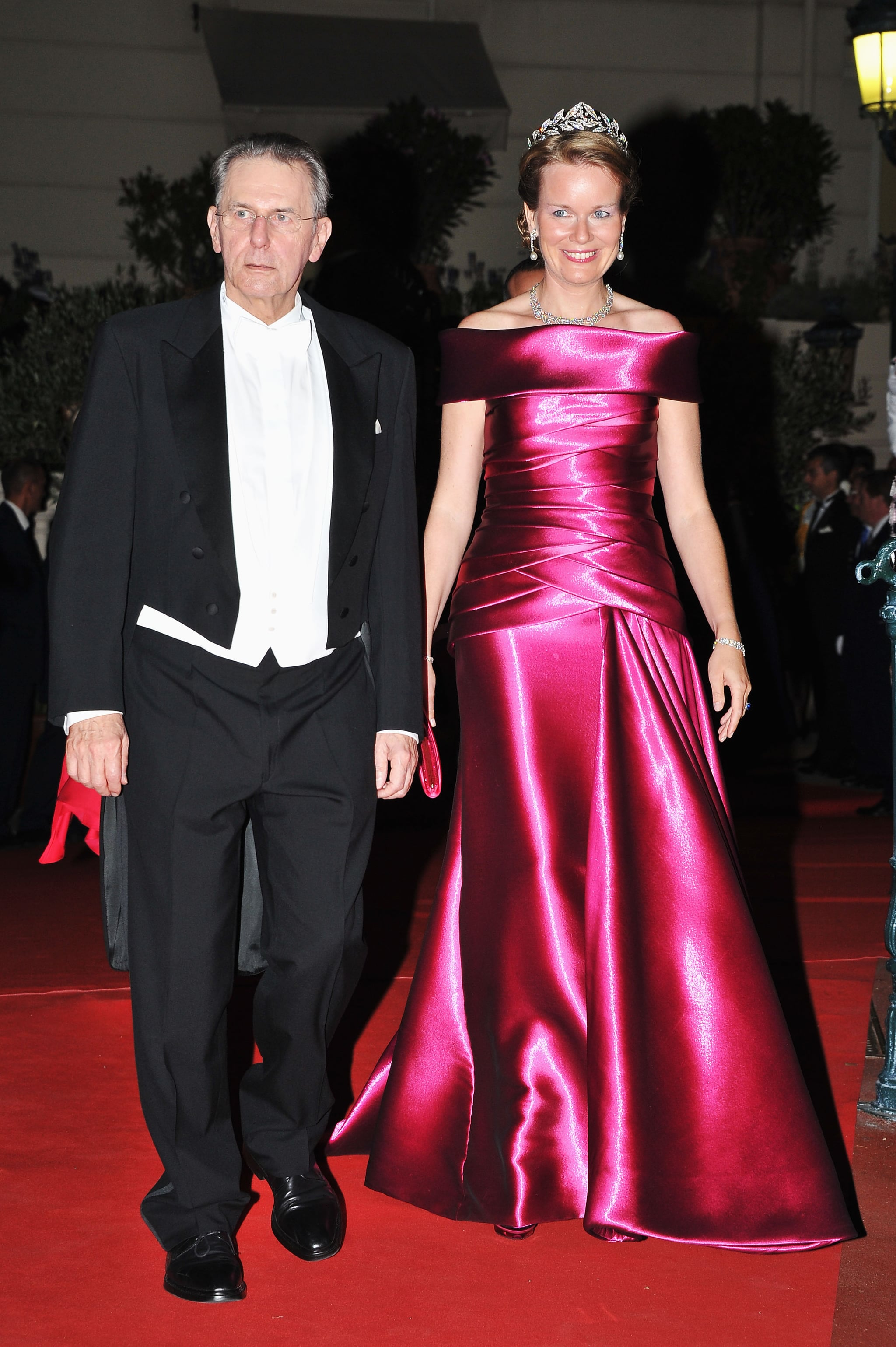 Princess Mathilde of Belgium attended a dinner at Opera terraces after the religious wedding ceremony of Prince Albert II of Monaco and Princess Charlene of Monaco.