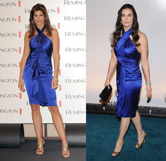 Cindy Crawford and Demi Moore Wear Blue Zac Posen Dress