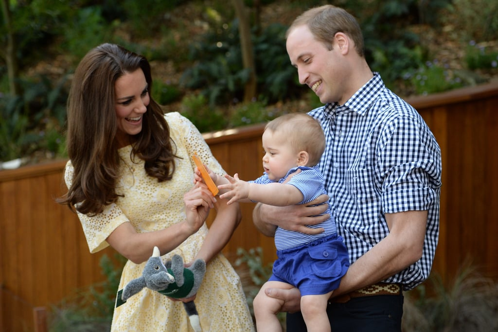 Kate and William shared an adorable moment with Prince George at Sydney's Taronga Zoo on Easter Sunday 2014.