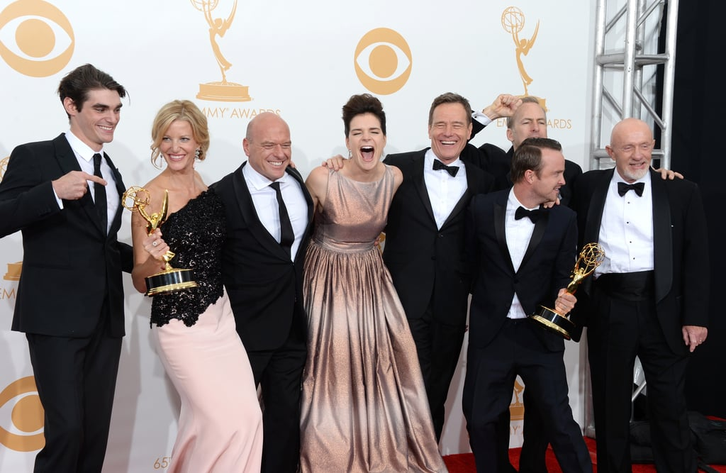 The Breaking Bad cast was excited about their Emmy win.