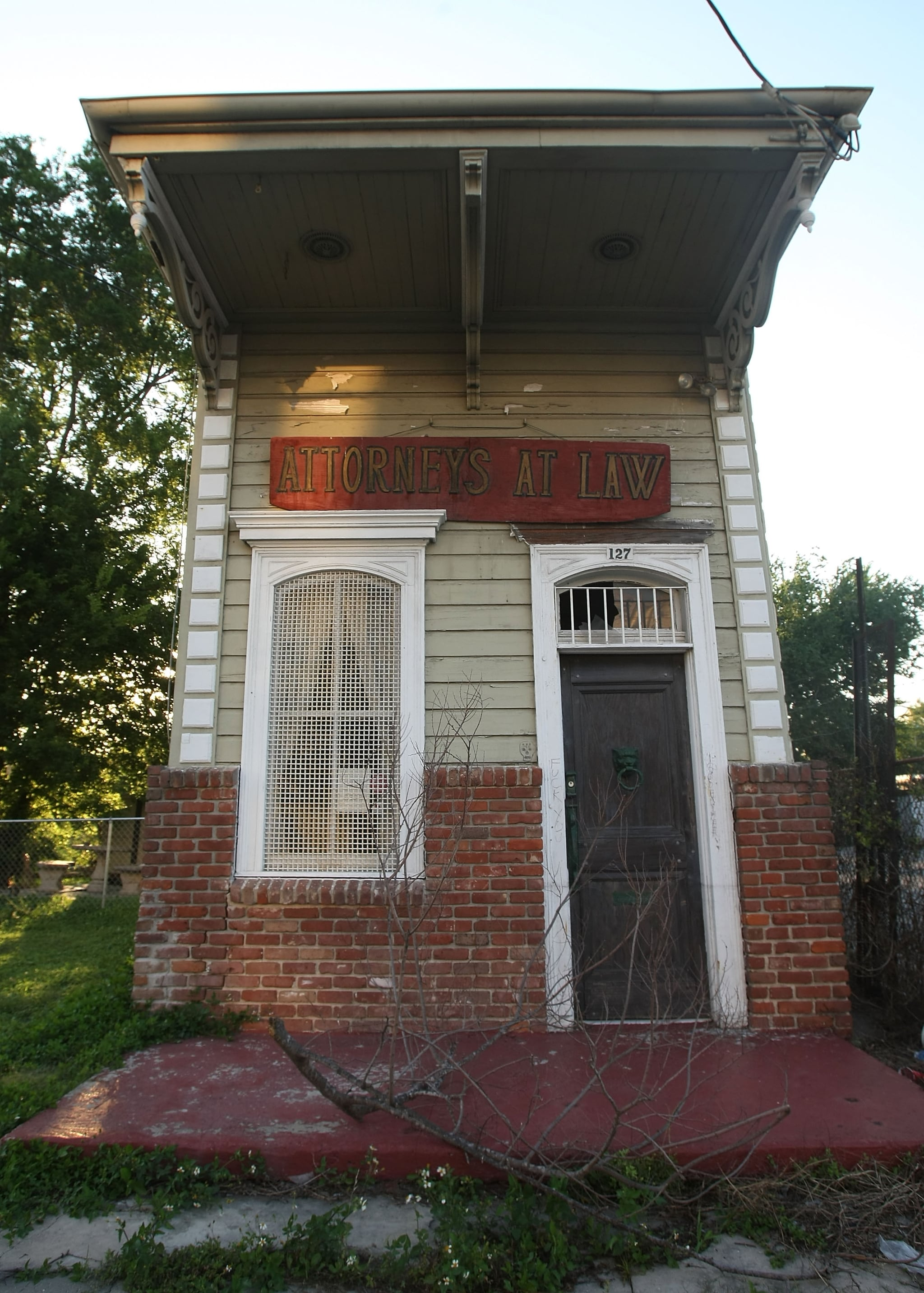 A shotgun house next to Charity Hospital in New Orleans, Louisiana.