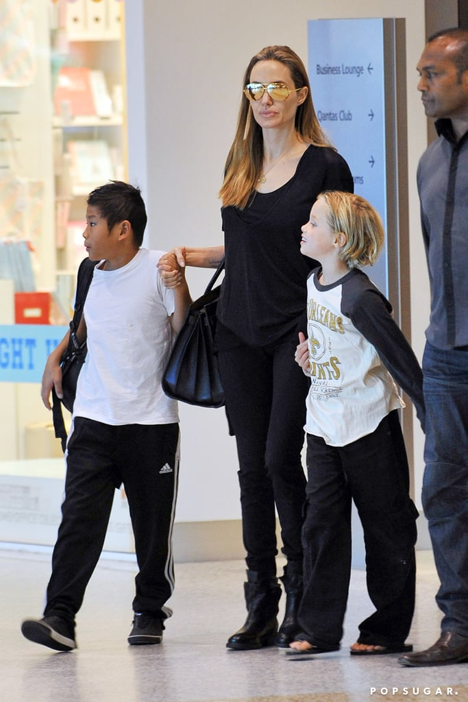 Angelina Jolie left the Sydney Airport with her kids.