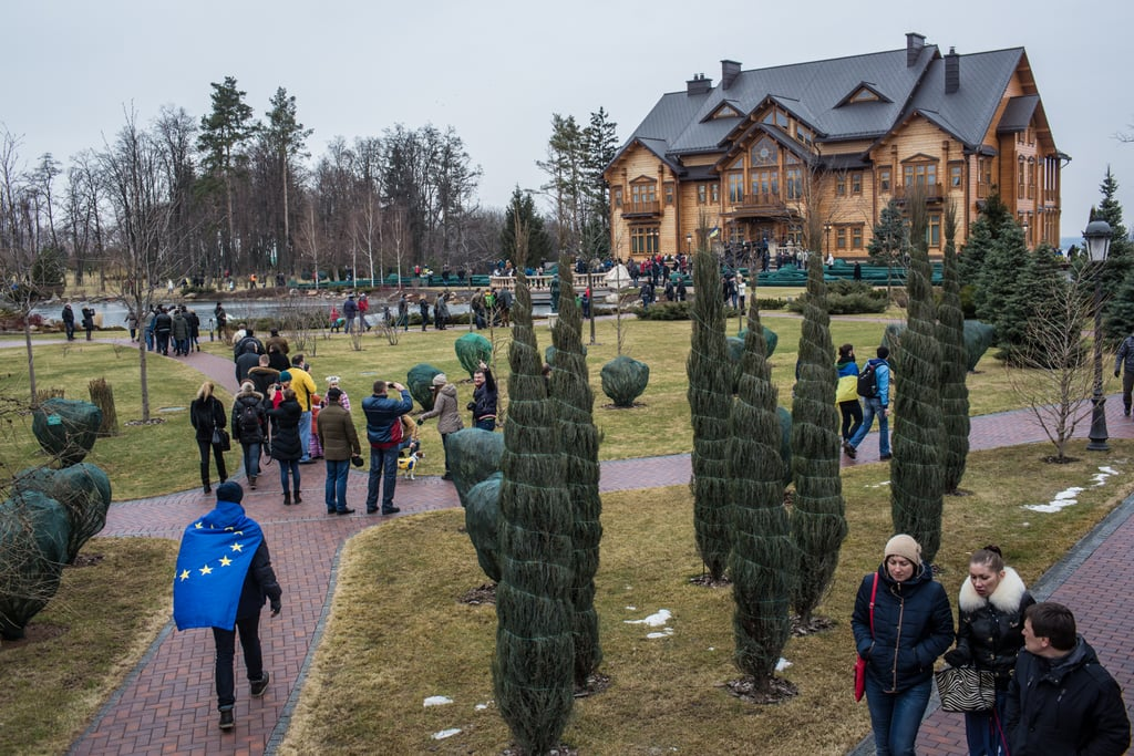 Thousands of people headed to President Viktor Yanukovych's Mezhyhirya estate after it was abandoned by security.