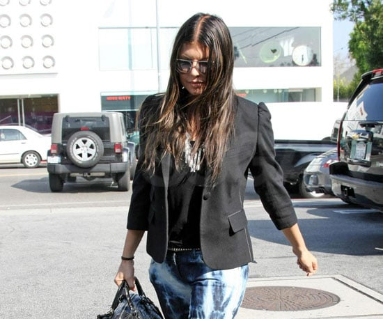 Photo of Fergie With Her New Dark Hair Shopping at Fred Segal in LA