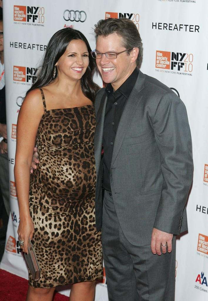 Luciana Damon was pregnant when she walked the carpet with Matt at the NY Film Festival in October 2010.