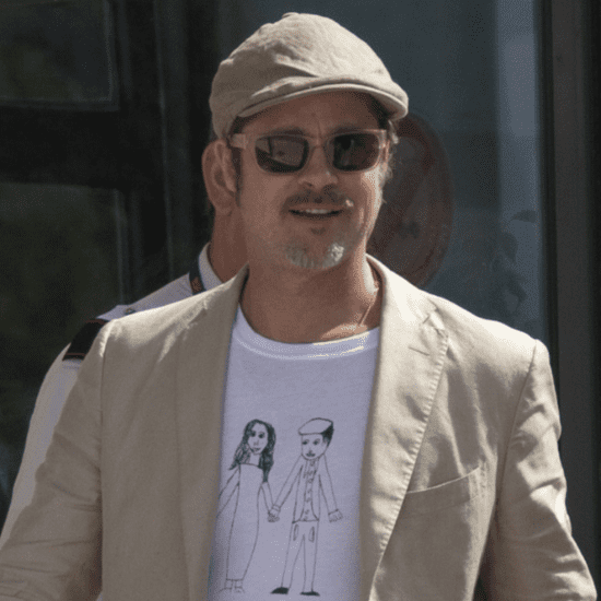 Brad Pitt Wears Homemade Shirt at Airport in France | Photos