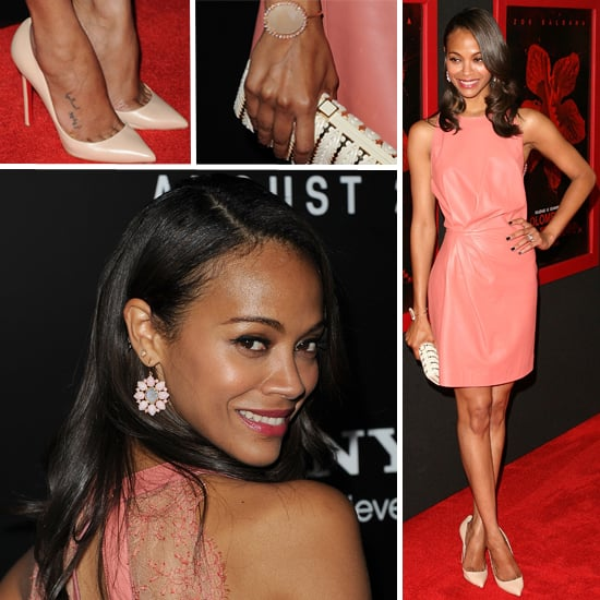 Zoe Saldana Wears Pink Valentino Dress to Colombiana Premiere