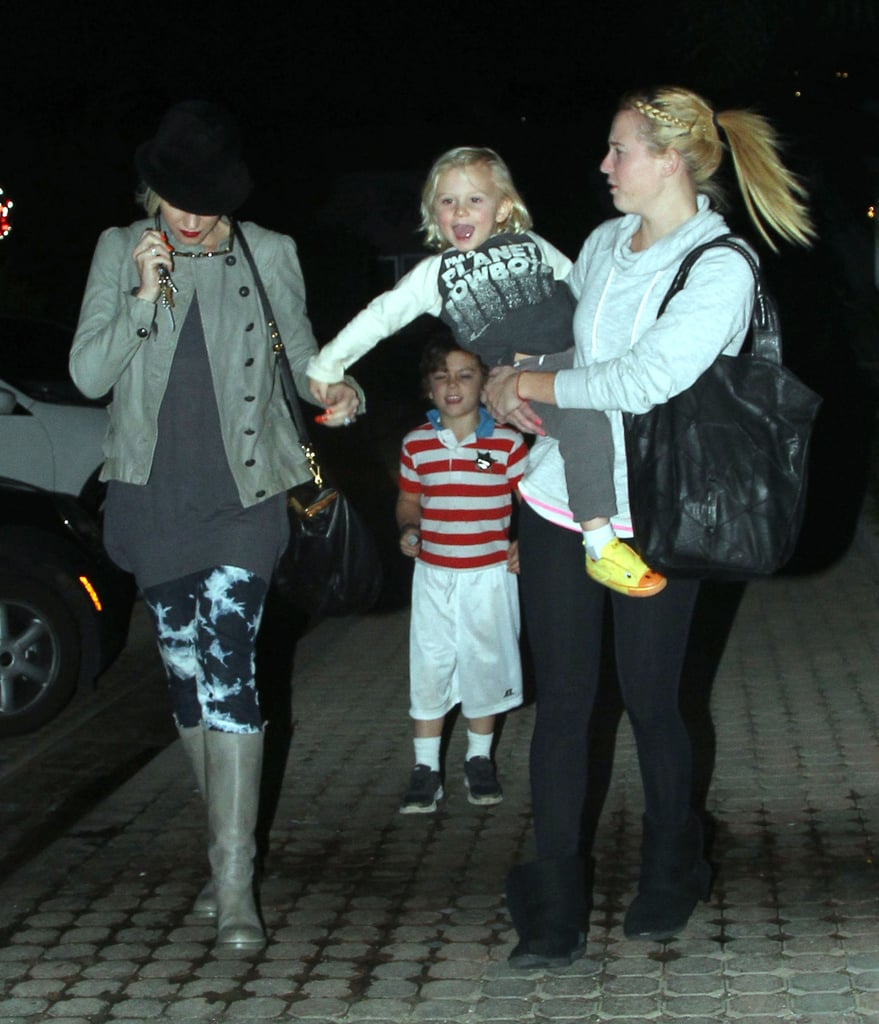 Zuma got a lift from his nanny while out and about in LA.