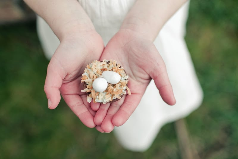 "Another creative spin on cupcakes? An edible egg-filled ""nest."" Source: Kaylee Eylander Photography via Jenny Cookies"