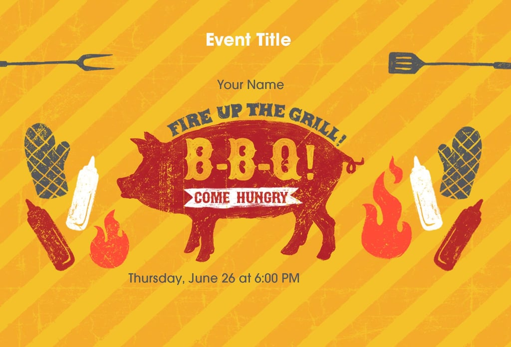 Even if your barbecue isn't whole hog, this invitation (free) is a sign you're ready for some serious grilling.