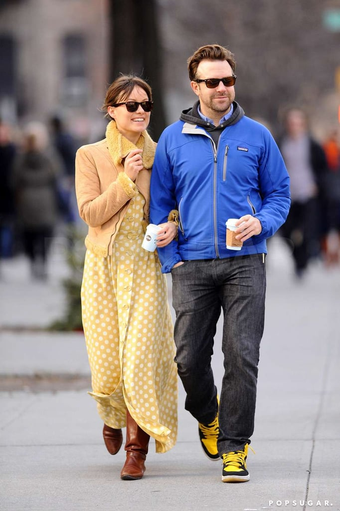 Jason Sudeikis and Olivia Wilde cuddled up during a walk in NYC on New Year's Day in 2012.