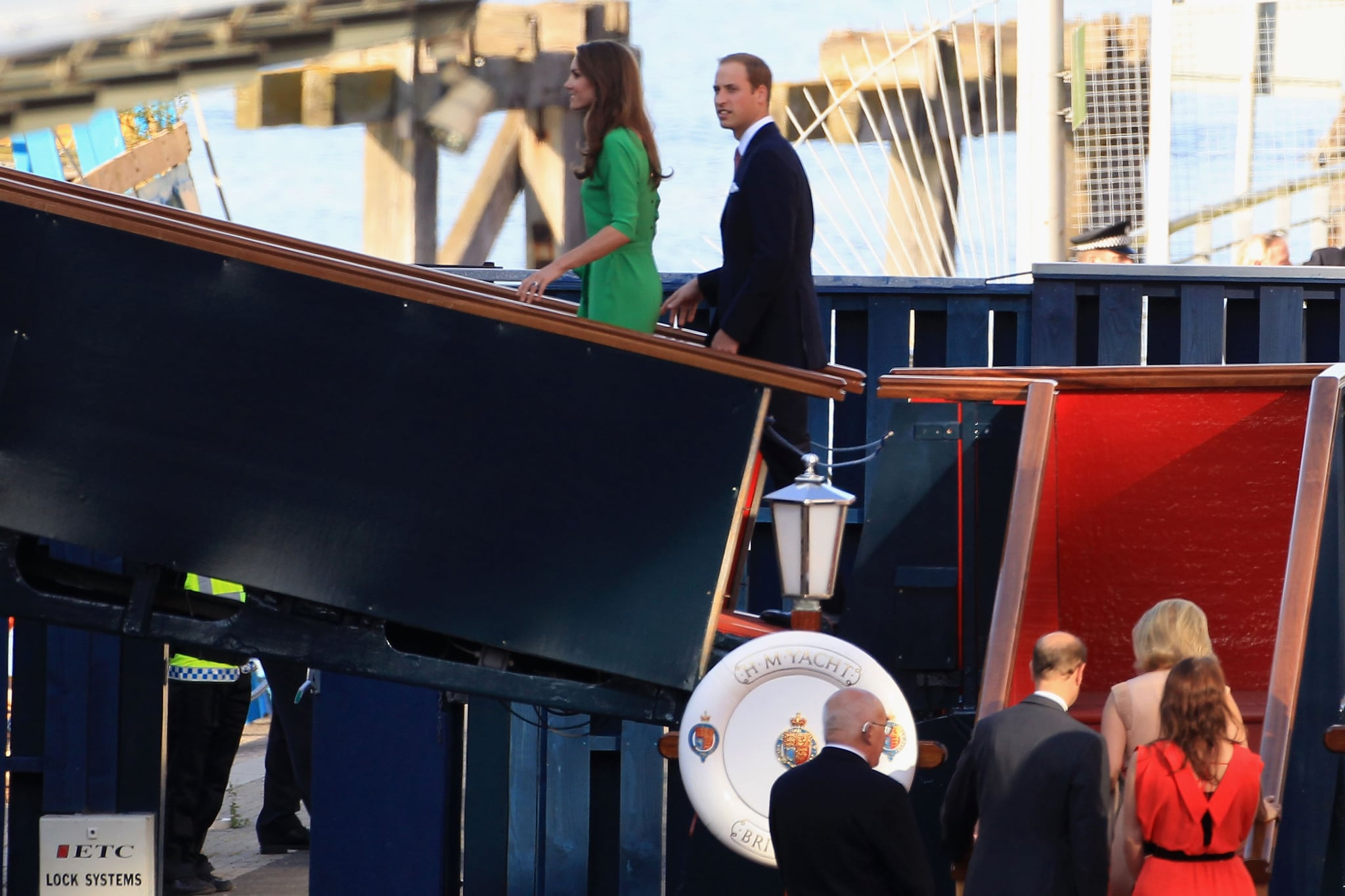 Kate Middleton and Prince William arrive on the Royal Yacht Britannia in Edinburgh.