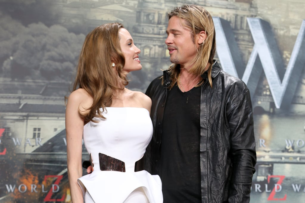 Angelina Jolie couldn't keep her eyes off of Brad Pitt at the premiere of World War Z in Berlin.