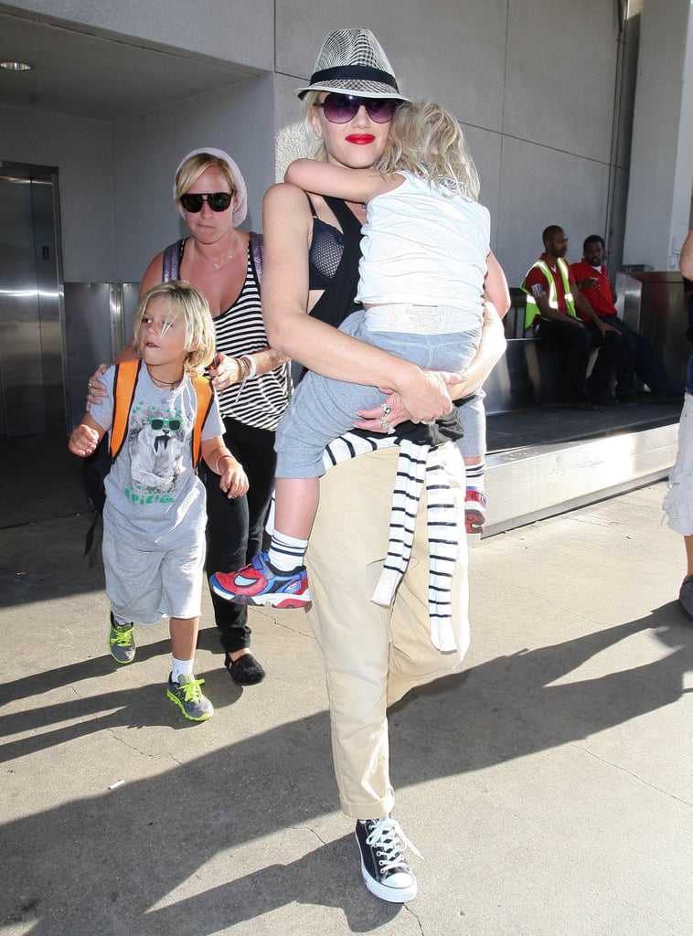 Gwen Stefani arrived at LAX with sons Kingston Rossdale and Zuma Rossdale.