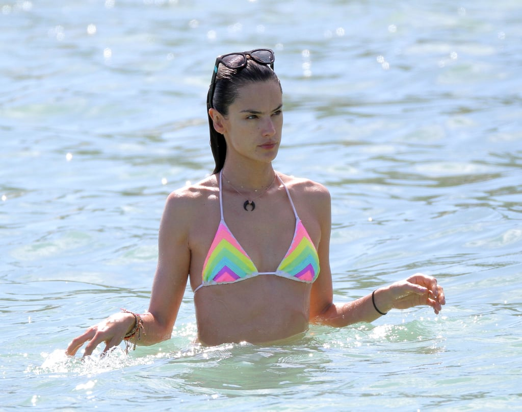 Alessandra Ambrosio waded in the water.