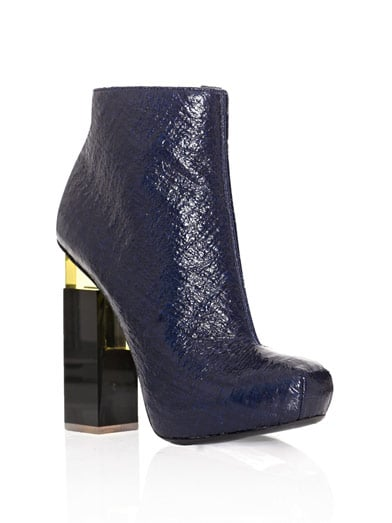 """I've been looking for a pair of ankle boots that screams """"high fashion"""" — and I think that I've found them in these Nicholas Kirkwood for Erdem Geometric Heel Ankle Boots ($1,157). I'm in love with the sleek navy patent leather, and the architectural heel has a cool space-age feel. I think they'd be the perfect complement to a basic LBD. — Brittney Stephens, assistant editor"""