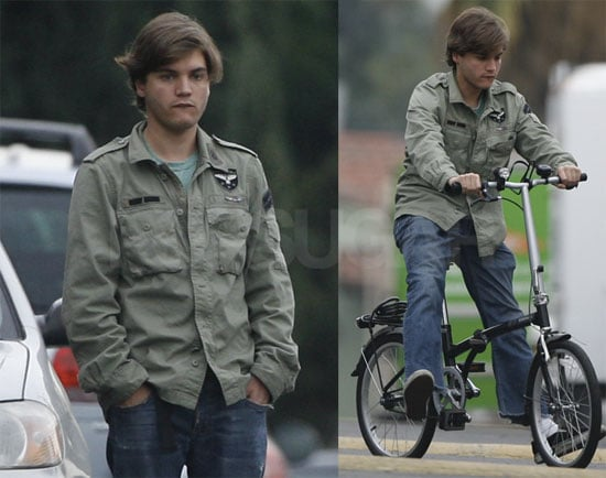 Photos of Emile Hirsch Riding a Bicycle With His Girlfriend in LA