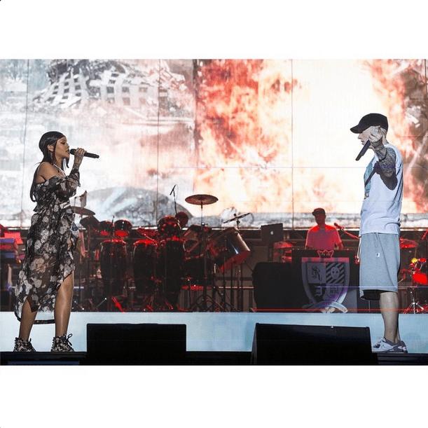 "If seeing headliner Eminem wasn't enough, he brought out a surprise guest: his ""Monster Tour"" partner, Rihanna. Source: Instagram user eminem"
