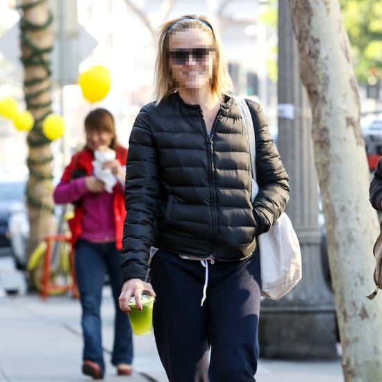 Blonde Actress With Green Juice and Adidas High-Tops