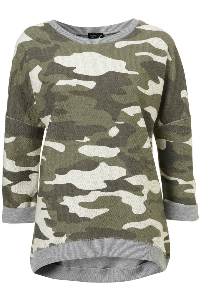 Pop this slouchy sweatshirt on over a tank and jeans for a pulled-together weekend look. Topshop Reverse Camo Sweatshirt ($60)