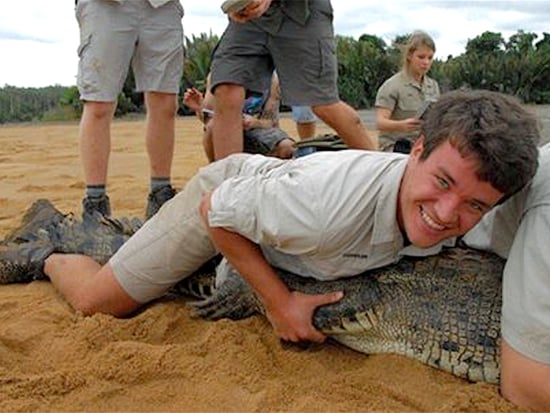 Bindi Irwin's Boyfriend Chandler Powell Performs His First 'Croc Jump': 'Can't Wait for More!'