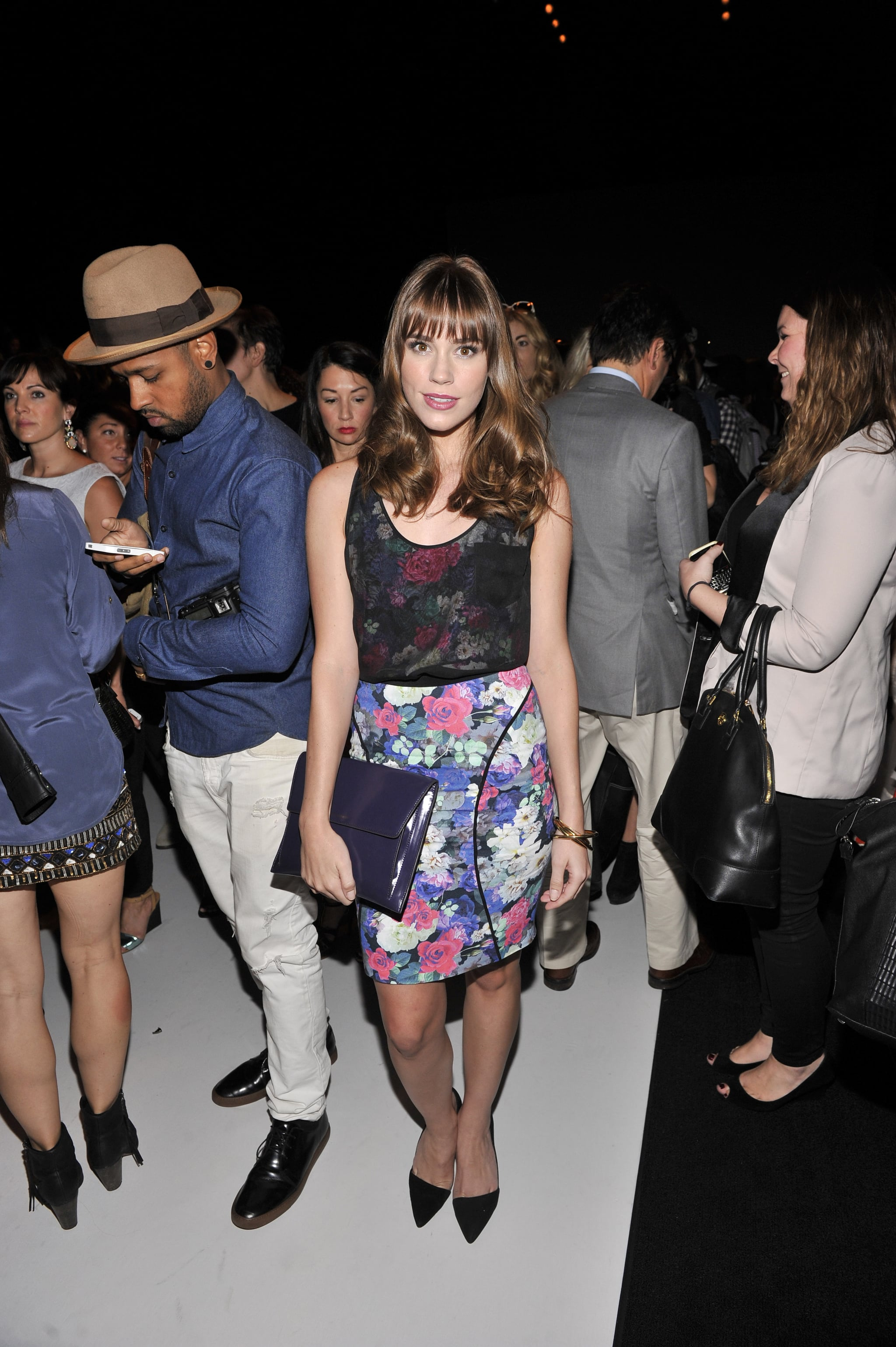 Christa B. Allen's floral dress stood out at Rebecca Minkoff, while a sheer black crop top added a bit of edge.
