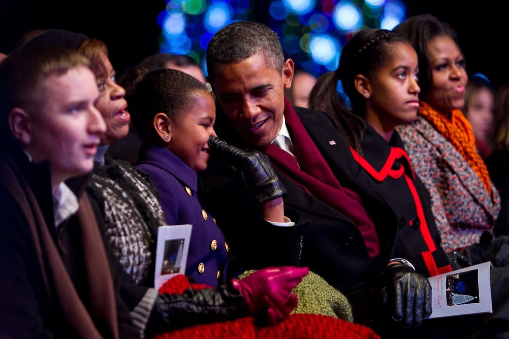 """During Obama's interview on The View, he shared a story from his 50th birthday party """"roast"""": """"Malia and Sasha and a bunch of my friends and Michelle had sort of like a roast, a little private roast; each one of them read something and Malia and Sasha had written out why I am such a wonderful dad. And they had this list, it was so sweet, and one of the items on Malia's list was, 'You are just the right amount of embarrassing.'"""""""