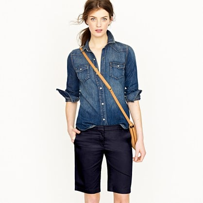We love throwing a snug top on with these longer shorts for a perfect girl-meets-boy mix.  J.Crew Summerweight Chino Short ($50)