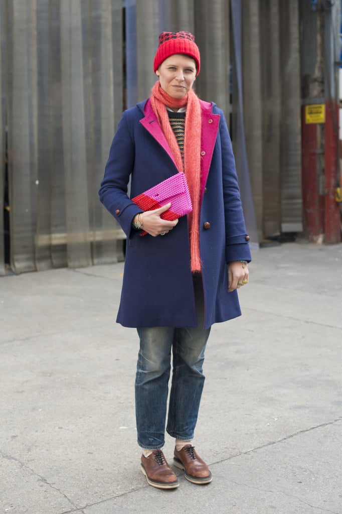 Elisa Nalin is practically the poster child for girlie-cum-tomboy style in her megawatt brights and menswear coat.