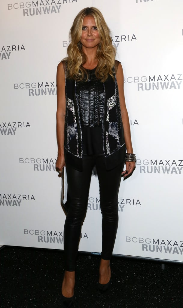 Heidi Klum posed for photos backstage at BCBG Max Azria on Thursday.