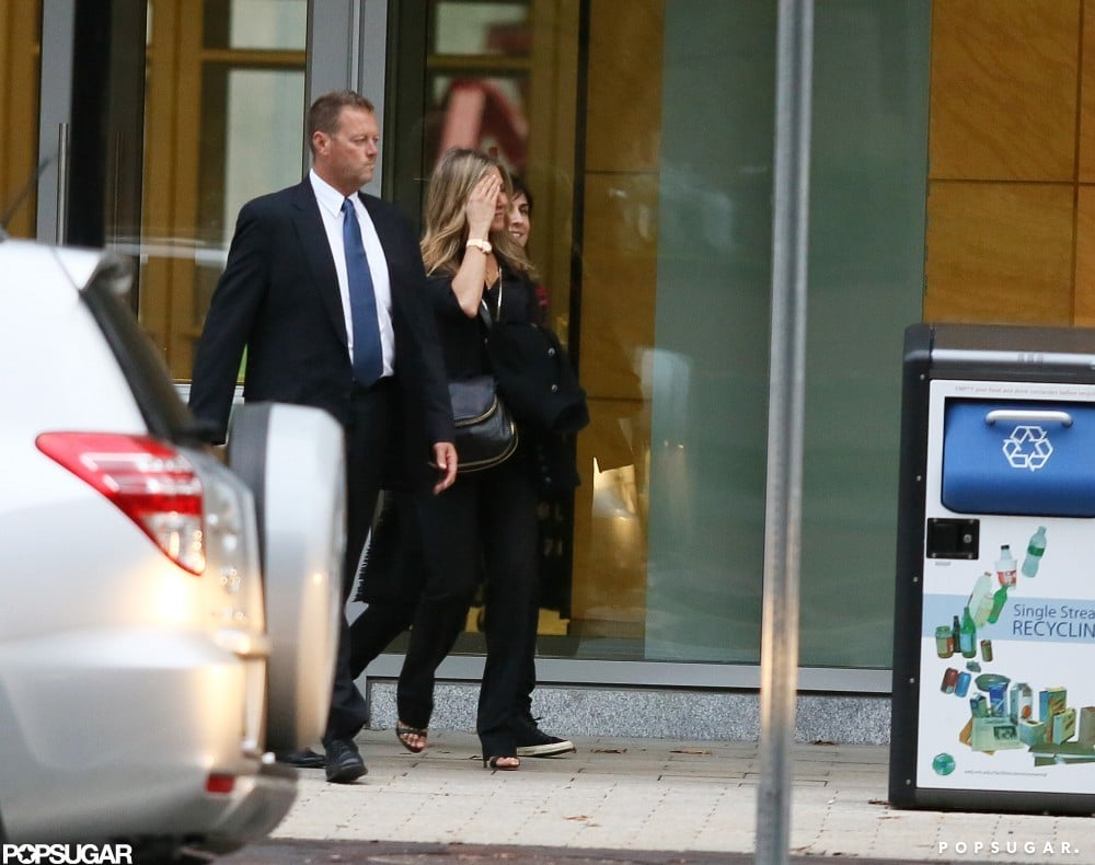 Jennifer Aniston made her way into a building in Boston.