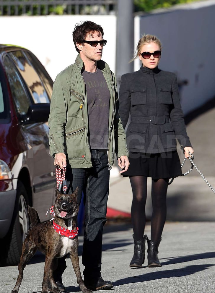 Pictures of Anna Paquin and Stephen Moyer Walking Their Dogs in LA