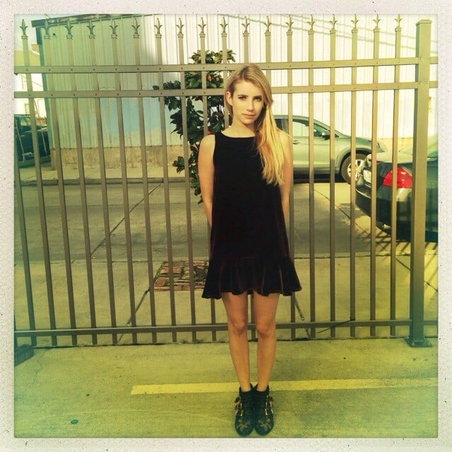 Emma Roberts showed off a cute new black dress — very appropriate for her role on American Horror Story: Coven, right? Source: Instagram user emmaroberts6