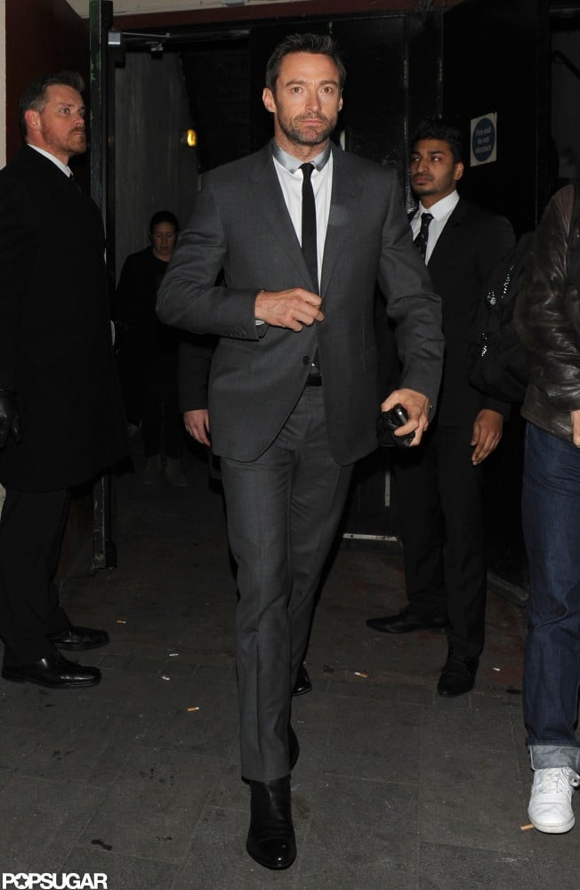 Hugh Jackman arrived at the theater in a suit.