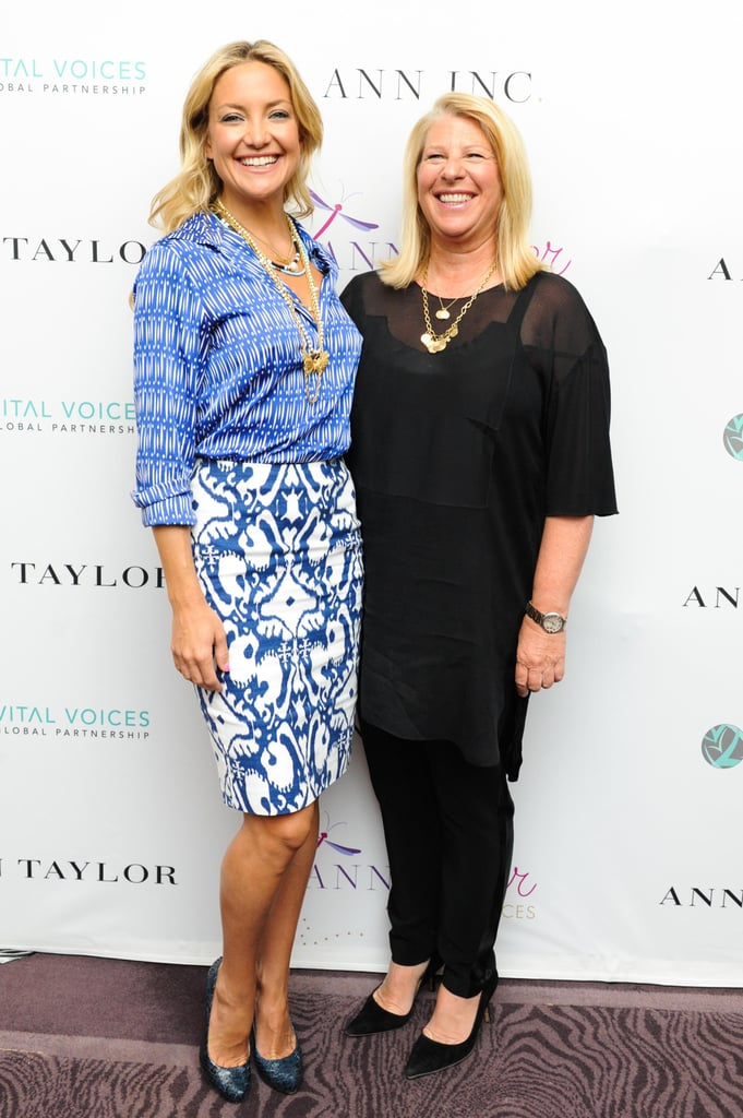 At the ANNpower Vital Voices Leadership Forum in Washington, D.C., Kate Hudson (pictured here with ANN INC. President and CEO Kay Krill) played expert mix master in a blue-and-white blouse, which she tucked into a printed pencil skirt (both by Ann Taylor). She then added a bevy of gold baubles and matching blue snakeskin pumps.