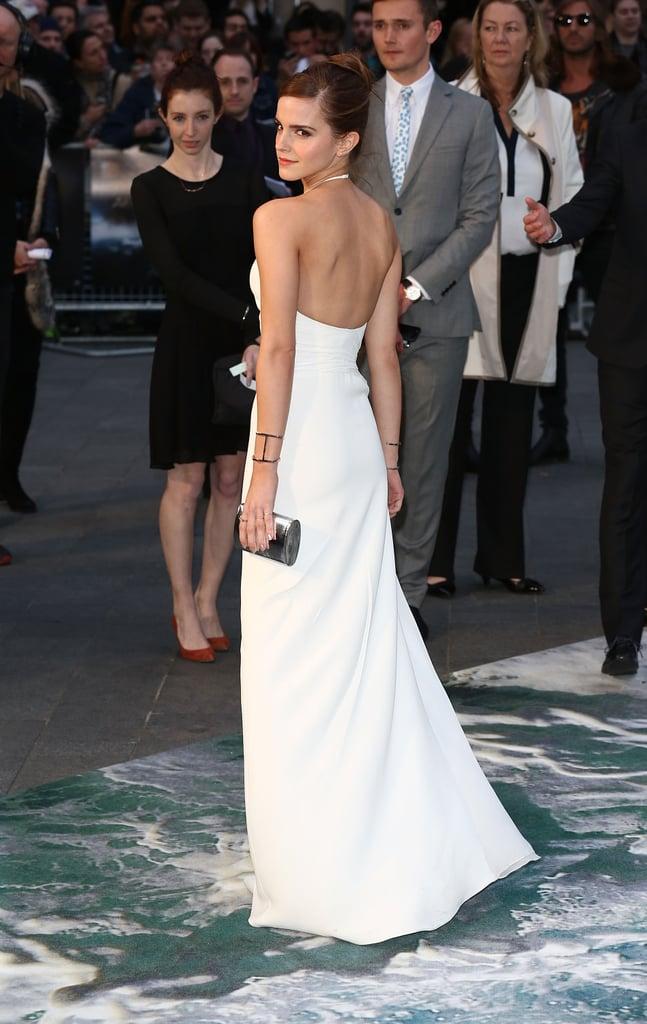 Emma Watson wore white to the London premiere of Noah on Monday night.