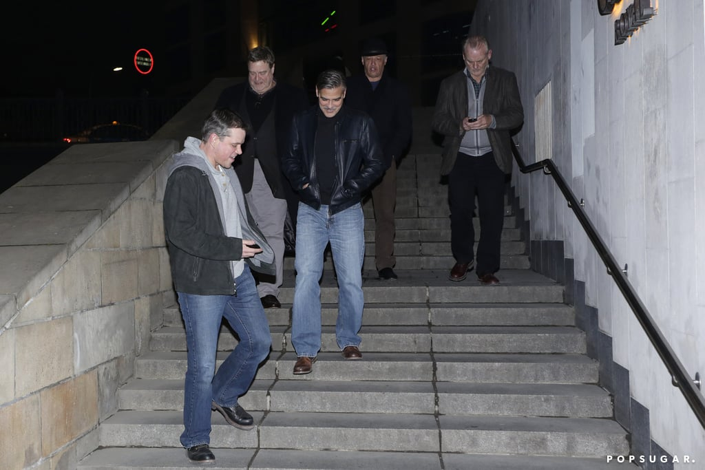 Matt Damon and George Clooney had a night out with friends in Berlin.