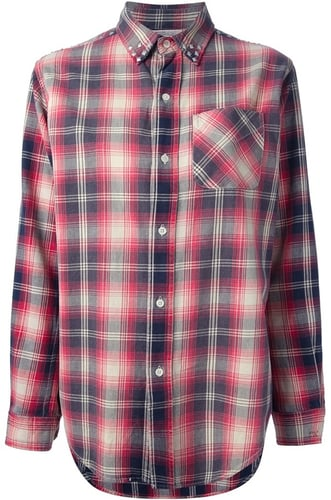 Current/Elliott studded plaid shirt
