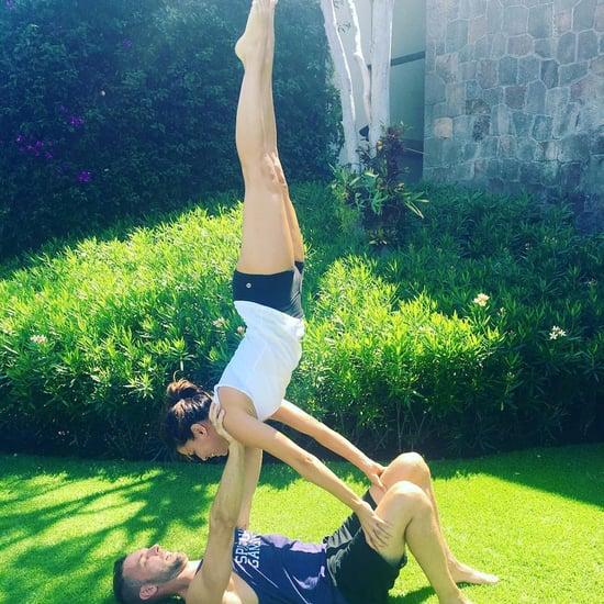 Eva Longoria Doing Yoga Before Her Wedding