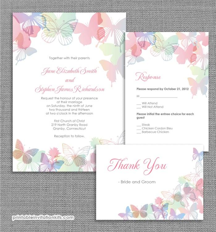 Spring Butterflies Wedding Invitation