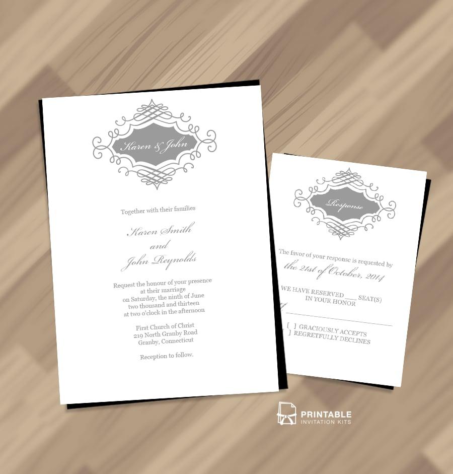Beautiful Wedding Monogram Invitation