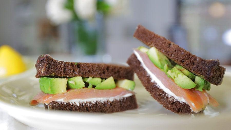 Cream Cheese, Lox, and Wasabi Sandwich
