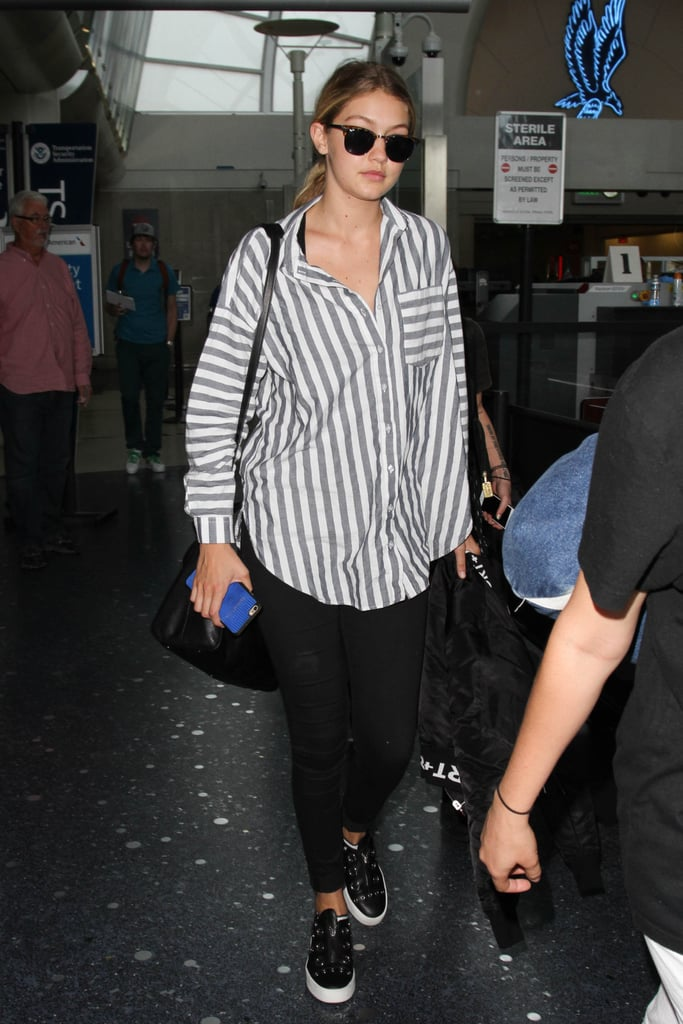 Gigi Hadid's LAX ensemble is all the proof we need not to underestimate the power of a loose striped button-down. It's casual but eye-catching all at the same time!