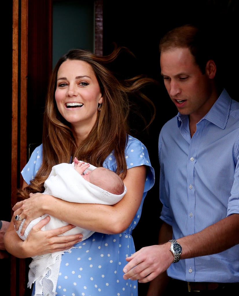 Kate Middleton held the royal baby as she and Prince William left St. Mary's Hospital.